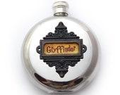 Gryffindor Harry Potter Inspired Flask Hogwarts House Crest Harry Potter Fan Gift Round 5 oz
