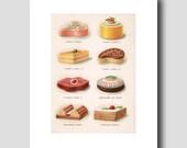 "Food Art Print, Kitchen Wall Decor, Unique 1920s Art Deco Print ""Fancy Cakes"" Gift for Cook No. 11"