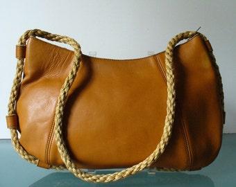 Vintage Boho Caramel Leather  Bag