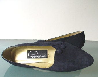 Vintage Pappagallo Navy Blue Suede Pumps  7 US