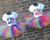 Twin Girls Kitten and Puppy Paw-ty Birthday Outfits, Dog and Cat Birthday Tutu Sets for Twin Girls, Twin Girls Puppy and Kitten Party Set