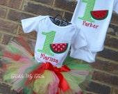 Boy/Girl Twin Watermelon Picnic Birthday Outfits, Twin Watermelon Birthday Outfit, Watermelon Birthday Tutu Set