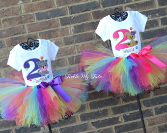 Twin Girls Kitten and Puppy Paw-ty Birthday Outfits-Dog and Cat Birthday Tutu Sets for Twin Girls-Twin Girls Puppy and Kitten Party Set