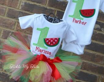 Boy/Girl Twin Watermelon Picnic Birthday Outfits-Twin Watermelon Birthday Outfit-Watermelon Birthday Tutu Set-Watermelon Party Outfits