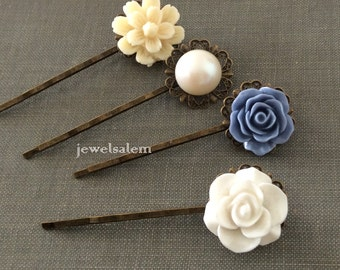 Wedding Hair Pins White Cornflower Blue Periwinkle Ivory Cream Custom Bridal Hair Accessories Floral Pins Shabby Chic Boho Woodland Rustic