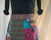 Patchwork mini wrap skirt with zipper pocket