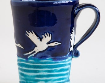 High-Flying Heron Mug from Clay Creature Comforts