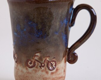 Night-time bike Mug from Clay Creature Comforts