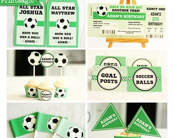 Soccer Birthday Party Invitations & Decorations - Printable Party Kit - Soccer Ticket Invitation - Instant Download and Edit in Adobe Reader
