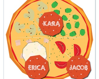 Pin the Pepperoni Pizza Party Printable Party Game - Pizza Birthday Party - Pizza Party Game  - Printable Party Game - Instant Download