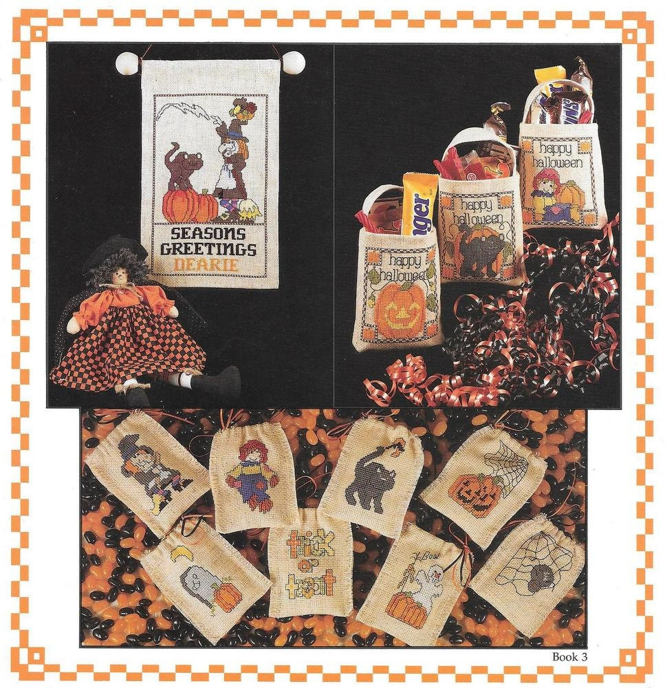 Halloween Mini Cross Stitch, Trick or Treat Bags, Mini Bags, Bowl ...
