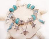 Aqua Bracelet with Beach Charms and European  Large Hole Beads