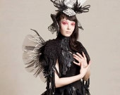 Black and White Feather, Crystal headpiece.