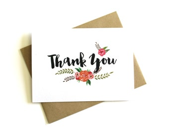 Floral Thank You Cards (Set of 5) - Spring Thank You Cards, Wedding Thank You Cards, Thank You Notes, Wedding, Floral, Watercolor, Flowers