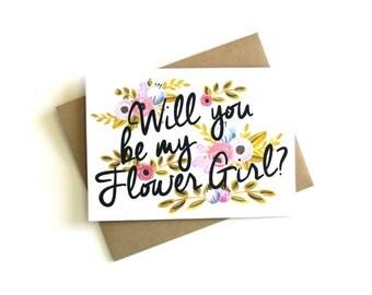 Flower Girl Card 'Will You Be My Flower Girl' - Greeting Card, Flower Girl, Wedding Card, Floral Card