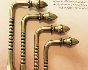 brass curtain tie backs set hobnail acorn motif aged patina