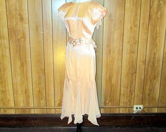 Gorgeous PEACH Satin RHINESTONE Gown
