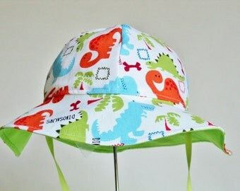 Baby Sun Hat - Toddler Sun Hat - Dinosaur Sun Hat - Size 12 To 18 Mo. Ready To Ship - Baby Boy Sun Hat - Summer Hat - Boys Beach Hat