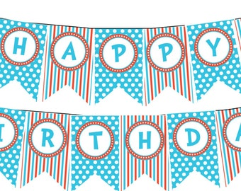 INSTANT DOWNLOAD Thing 1 Thing 2 Dr Seuss Happy Birthday Banner--DIY Printable