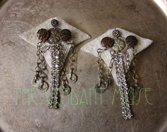 Tribal Hairclips Set- Headdress Headpiece Accessories White Bead Applique Picture Button Rhinestone Fascinator