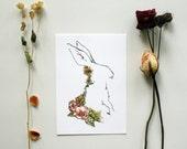 White Rabbit - Woodland Animal Print- 5 x 7