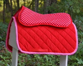 Ready to Ship - Pink and Red Polka Dots Baby Pad and Memory Foam Half Pad Set