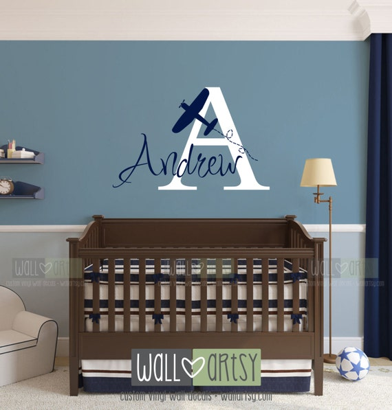 "Airplane and Name Vinyl Wall Decal -  Custom Wall Decals for Baby Nursery or Boys Room 22""H x 28""W WA008"