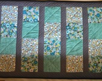 Handmade Baby Quilt, Baby Blanket - Unisex- Teal, White, Grey. BONUS -FREE burp cloth included