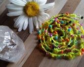 Bohemian Crochet Necklace - Summer 2016 - Beach Ready - Beaded Wrap Bracelet - Beaded Lariat Necklace - Neon Yellow - Shorenaments -Necklace