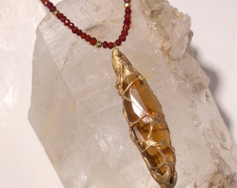 "SALE! Topaz Crystal with Garnet Beads- ""POD"" Necklace-Spun Gold Resin-One-of-a-Kind, Wearable Art"