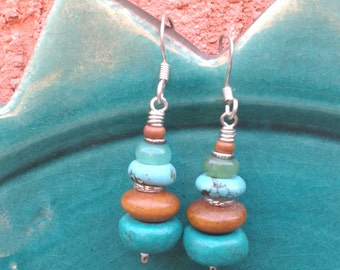 Stack & Sway ~ Turqouise, Wood, Chrysoprase, Jasper Sterling Silver Dangle Earrings