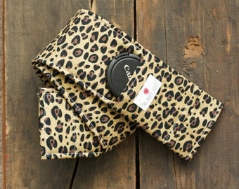 DSLR Camera Strap Cover- lens cap pocket and padding included- Cheetah Print