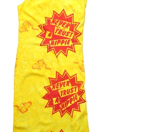 Never Trust A Hippie Punk Maxi Dress-Yellow Sun dress -grunge