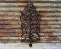Large Antique Cast Iron Window Panel Decoration Metal Fence Panel Rusty Victorian 1800s Architectual Salvage Highly Ornate Wall Decor vtg