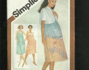 Vintage 1980's Simplicity 9921 Maternity Sun Dress & Bolero Size 8