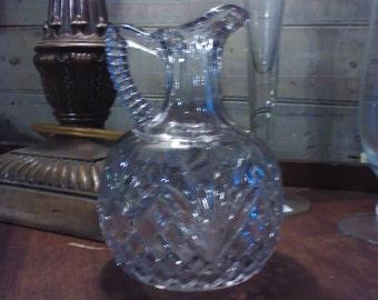 EAPG Vinegar Cruet Hand Blown in Mold Early Pressed Clear Glass Vase Vintage Antique