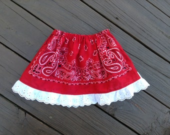 Red Bandana Skirt with Eyelet Trim, One Size fits 2T to 5T, Ready to Ship, Western Skirt, Cowgirl Skirt