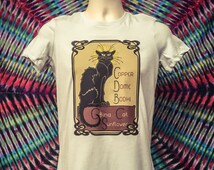 China Cat Sunflower Mucha inspired Dead T shirts in mens and womens styles/ Mongo Arts Unisex Gildan ultra cotton and Womens Bella tees