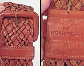 Oversized BRAIDED Belt // 90s Classiques Nordstrom Turkish Leather M / L Chestnut