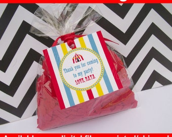 Circus Favor Tags - Circus Thank You Tags - Carnival Favor Tags - Circus Gift Tags - Carnival Gift Tags - DIgital & Printed