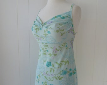 70's Open Back Nightie Criss Cross Straps Delicate Floral Nightgown Farr West S