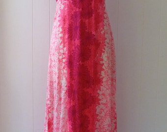 70's Hawaiian Dress Hot Pink Flower Power Maxi Floral Full Length Empire Waist Hostess Gown M