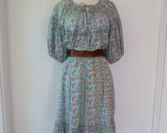 70's Bonwit Teller Dress Calico Prairie Gypsy Romantic Cotton Puff Sleeve Floral M L XL