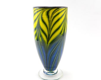 Yellow and Blue Blown Glass Vase
