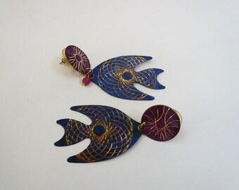Fish Earrings, Geometrical Metal Fish Earrings, Blue, Gold, Pink Fish Earrings, Light Weight Bohemian Dangle Earrings, 90's Unique Earrings.