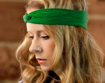 Green Headband, Twist Headband, Womens Turban Adult Headband, Twisted Headband, Fitness Headband, Workout Headwrap Yoga St Patricks Day