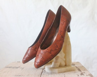 Vintage 70's Toffee Woven Leather Heels Sz 8.5