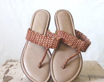 Vintage Woven Caramel Leather Flip Flop Sandals Sz 7