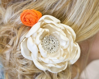 Ivory hair flower . Bridal/ bridesmaid singed peony fascinator. choose your color.