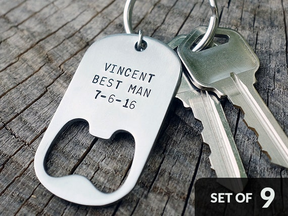Set of 9 - GROOMSMAN GIFTS Personalized Bottle Opener Keychains - Wedding, Best Man, Groomsmen